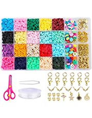 Makersland 4700+Pcs Clay Heishi Beads Kit for Bracelets Jewelry Making, 6mm Flat Round Beads, Polymer Clay Disc Beads with Letter Beads and Smiley Face Beads