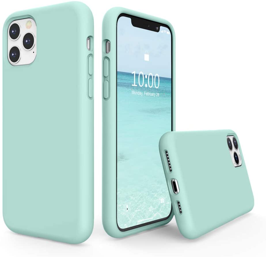 SURPHY Silicone Case Compatible with iPhone 11 Pro Max Case 6.5 inches, Liquid Silicone Full Body Thickening Design Phone Case (with Microfiber Lining) for 11 Pro Max 2019, Mint Green