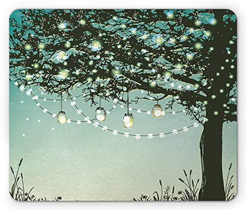 Magical Mouse Pad, Lanterns and Lamps Hanging on Tree Branch Decorative Backyard Party Illustration, Standard Size Rectangle Non-Slip Rubber Mousepad, Green Yellow