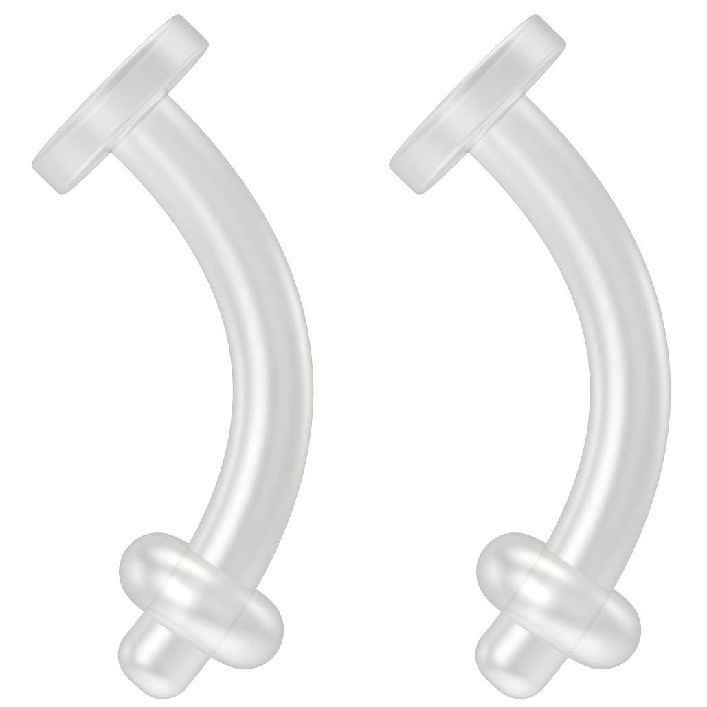 2pc 14g Belly Button Retainer Ring Flexible BioFlex Plastic Navel Piercing 14 Gauge Bioplast 8mm by Bling Piercing