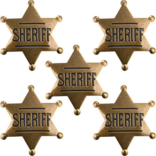 5 Pieces Metal Sheriff Badge Old West Costume Badge Bronze Toy Badge Party - Toy Badge