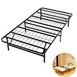 Foldable Bed Frame Metal Platform Base 14Inch Box Spring Replacement Mattress Foundation Heavy Duty Steel Slat, Black Queen (Twin, Black)