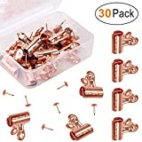 Alritz Metal Push Pin Clips, Bulldog Clips with Push Pins for Photos Pictures Papers Documents Used on Cork Boards, Bulletin Boards and Cubicle Walls, Rose Gold (Small)