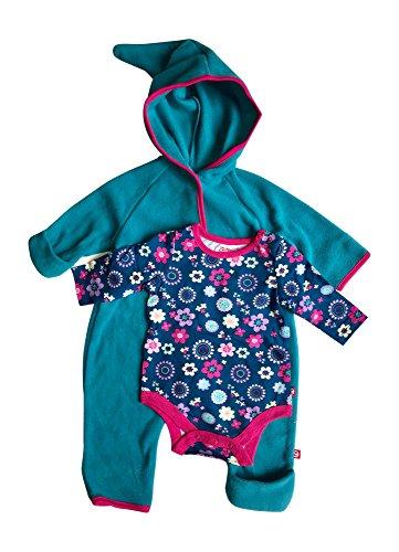 Fleece Gloves Over Fold (Baby Girl Hooded Fleece Bodysuit Elf Romper with Fold Over Cuffs & Long Sleeve Snap Onesie Set)