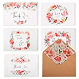 """40 Floral Thank You Cards   Thank You Notes Bulk Box Set with Envelopes & Stickers   Large 4"""" x 6"""" White Greeting Cards Blank Inside   Perfect for Baby Showers, Weddings & Bridal Showers: more info"""