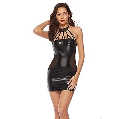 4623adb0f3e Femmes Robe Sexy Moulante Courte Halter Dos Nu Wetlook Clubwear Mini Robe  en Cuir Patchwork de