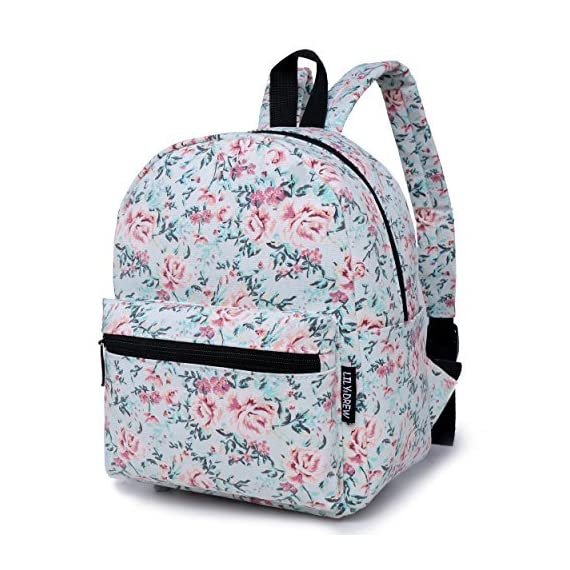 """Lily & Drew Lightweight Travel Backpack for Women and Teens 1 MEDIUM size 15-inch backpack. Please note there are two sizes: small and medium. This medium-sized backpack is 15.5"""" tall x 11.5"""" wide x 6.3"""" deep. Binders, folders and laptop computers will fit. See pictures and description for reference and further details. POCKETS. Two side pockets for water bottles, sun-glasses, etc. Front zippered pocket for small items such as pens, phone, etc. Large main compartment with heavy-duty double zippers for big items such as laptop, binder, books, notebook, folder, and more. PERFECT for laptop. Convenient internal sleeve is ideal for a 14-inch laptop computer, tablet or iPad. Perfect fit for MacBook, MacBook Air or MacBook Pro 13-inch. Maximum laptop size is about 13-1/2"""" x 10"""" x 1"""" thick."""