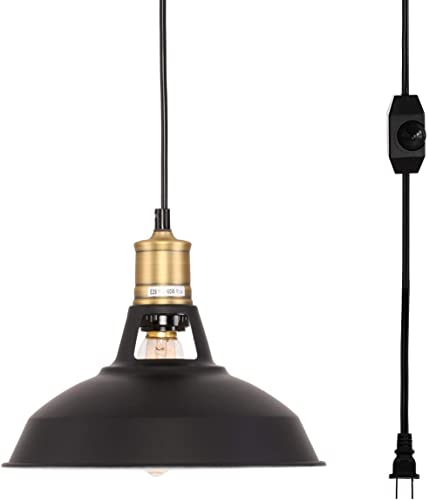 Kingmi Plug-in Pendant Light with Plug in 16.4 Cord and On Off Dimmer Switch, Upgraded Industrial Barn Metal Swag Hanging Lamps Black