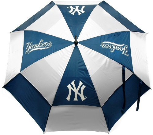 "Team Golf MLB New York Yankees 62"" Golf Umbrella with Protective Sheath, Double Canopy Wind Protection Design, Auto Open Button"