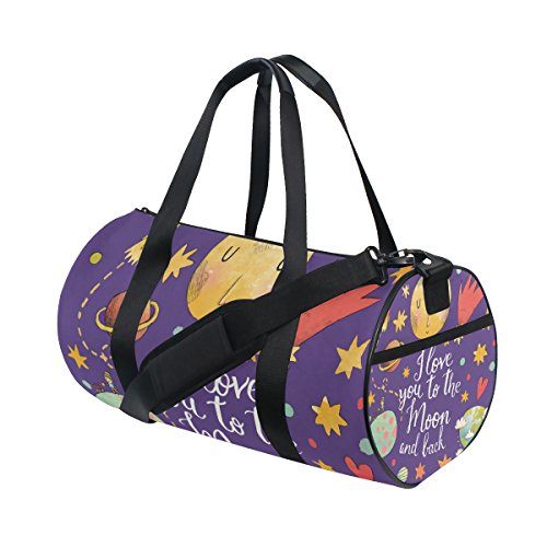 Price comparison product image My Little Nest Sports Gym Bag Cartoon Love You The Moon and Back Lightweight Travel Duffel Bag for Women Men