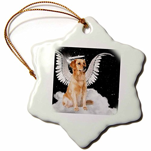 3dRose orn_62894_1 Golden Retriever Angel Dog Sitting on a Cloud with a Cute Halo and Angel Wings Snowflake Decorative Hanging Ornament, Porcelain, 3-Inch Halo Christmas Ornament