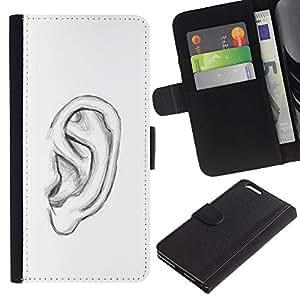 KingStore / Leather Etui en cuir / Apple Iphone 6 PLUS 5.5 / Dessin au crayon blanc Croquis