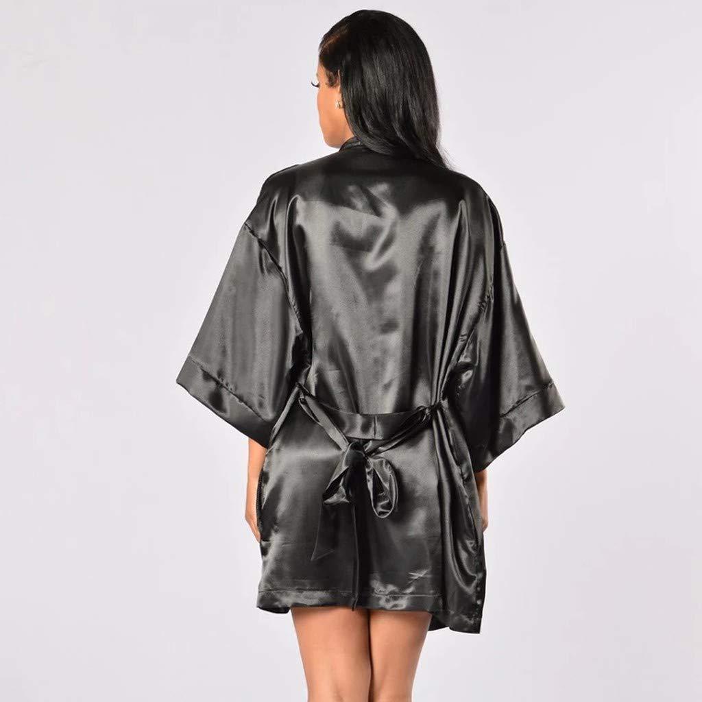 EUCoo Robes de Chambre et Kimonos Robes de Mari/ée Femme Peignoir Satin Robes de Chambre Couleur Pure V/êtement de Nuit Sortie de Bain