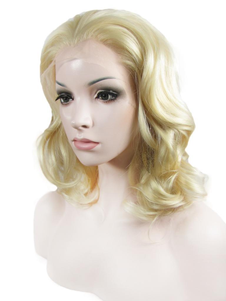Imstyle sintético Lace Front Side parte corto rizado ondulado peluca rubia Drag Queen Cosplay Pelucas: Amazon.es: Belleza