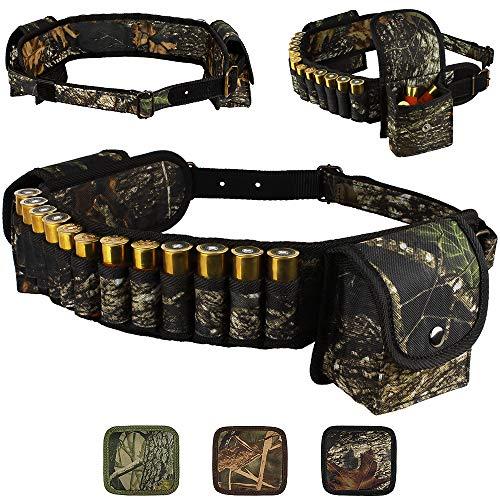 (BronzeDog Shotshell Bandolier Waterproof Shotgun Shell Holder Adjustable Nylon Belt Case Hunting Accessories 12 16 Gauge (Black Oak Camo))