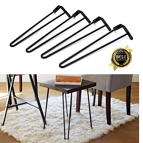 Set of 4 19 Furniture Hairpin Metal Legs (19-inch) Heavy Duty Use for Wood Tabletop