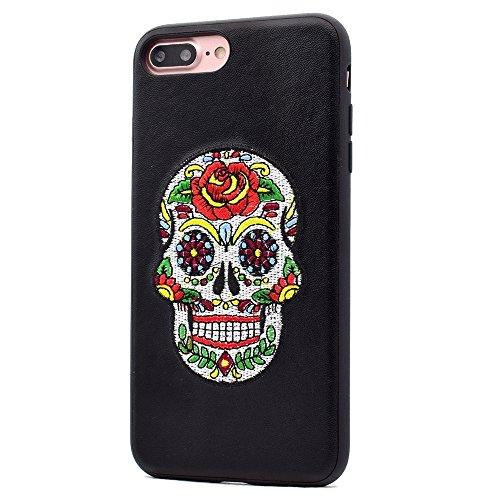 Protege tu iPhone, Para el iPhone 7 más el cuero de la PU que el patrón del cráneo empaqueta la caja protectora de la contraportada del bordado del imán Para el teléfono celular de Iphone. ( SKU : Ip7 Ip7p4516a