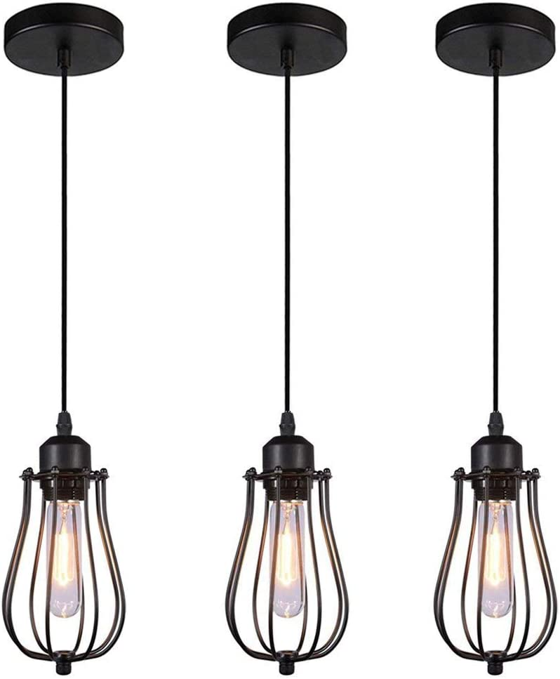 WINSOON 3 Pack Industrial Pendant Light Edison Hanging Cage Pendant Lights E26 E27 Base Vintage Adjustable Pendant Lamp Fixture for Kitchen Home Lighting