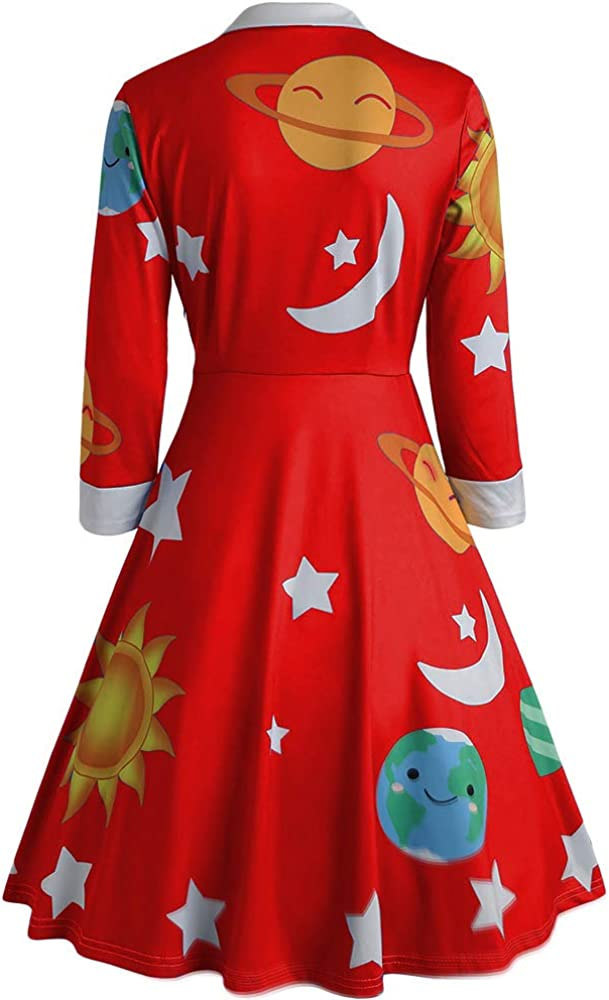 CHARMMA Womens Vintage Peter Pan Collar Planet Print A Line Flare Party Dress