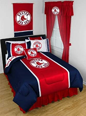 MLB Boston Red Sox Twin Bedding Set with Pillow Sham. Amazon com   MLB Boston Red Sox Twin Bedding Set with Pillow Sham
