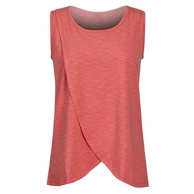 QinMM Camiseta de Mujer Maternidad de Doble Capa, premamá Lactancia Blusa sin Manga Camisas (