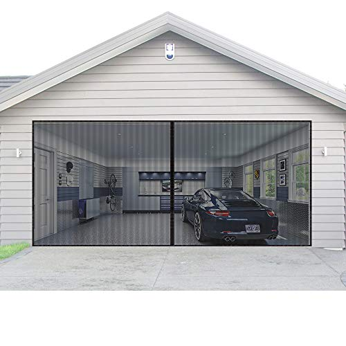 AURELIO TECH Magnetic Garage Door Screen for 1 Car 9x7 ft Single Garage Door Mesh Screen Curtain Cover Kit with Hook and Loop, Keep Bugs Out