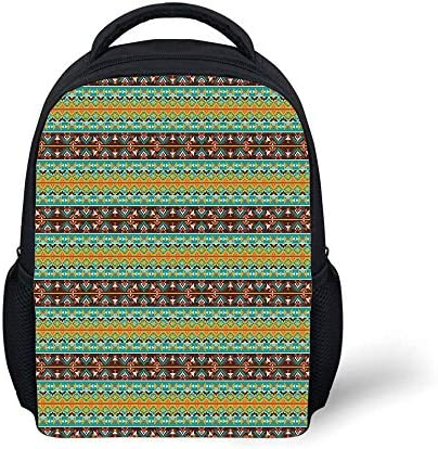 Kids School Backpack Native American,Retro Style Tribal Aztec Motif Pattern with Geometric Details,Brown Marigold Turquoise Plain Bookbag Travel Daypack