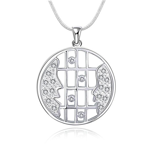 AmDxD Jewelry Silver Plated Pendant Necklaces for Women Silver Hollow Circle Lattice CZ (Phiten X 30 Titanium Necklace)