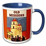 3dRose BLN Vintage Travel Posters and Luggage Tags - Old Missions, Mission Santa Barbara California Luggage Label - 11oz Two-Tone Blue Mug (mug_180223_6)