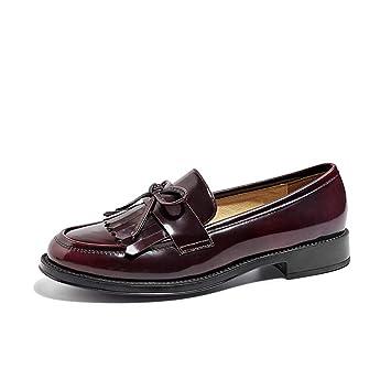 LEFT&RIGHT Chica Flecos Zapatos Planos de Las Mujeres Mocasines Zapatos Poco Profunda Boca pequeños Zapatos de