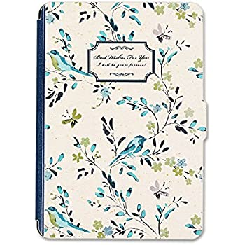 Kandouren Case Cover for Amazon Kindle Paperwhite - Blue Bird Art Skin,Lighted Slim Leather Cover with Autowake(Fit 6 inch 6th generation new Kindle Paperwhite 2013 2015 2016),like white book