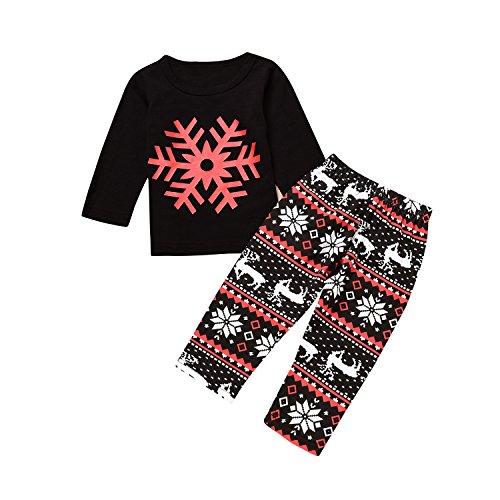 Christmas Newborn Baby Boy Girl Clothes Snowflake Sweatshirt Deer Print Pants 2Pcs Outfits Set