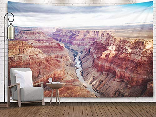 Bisead Wall Art for Bedroom Tapestry, Map Art Tapestry 80x60 inchs View Over The South North Rim Part in Grand Canyon from Helicopter USA Wall Hanging Gifts for Bedroom Dorm Décor