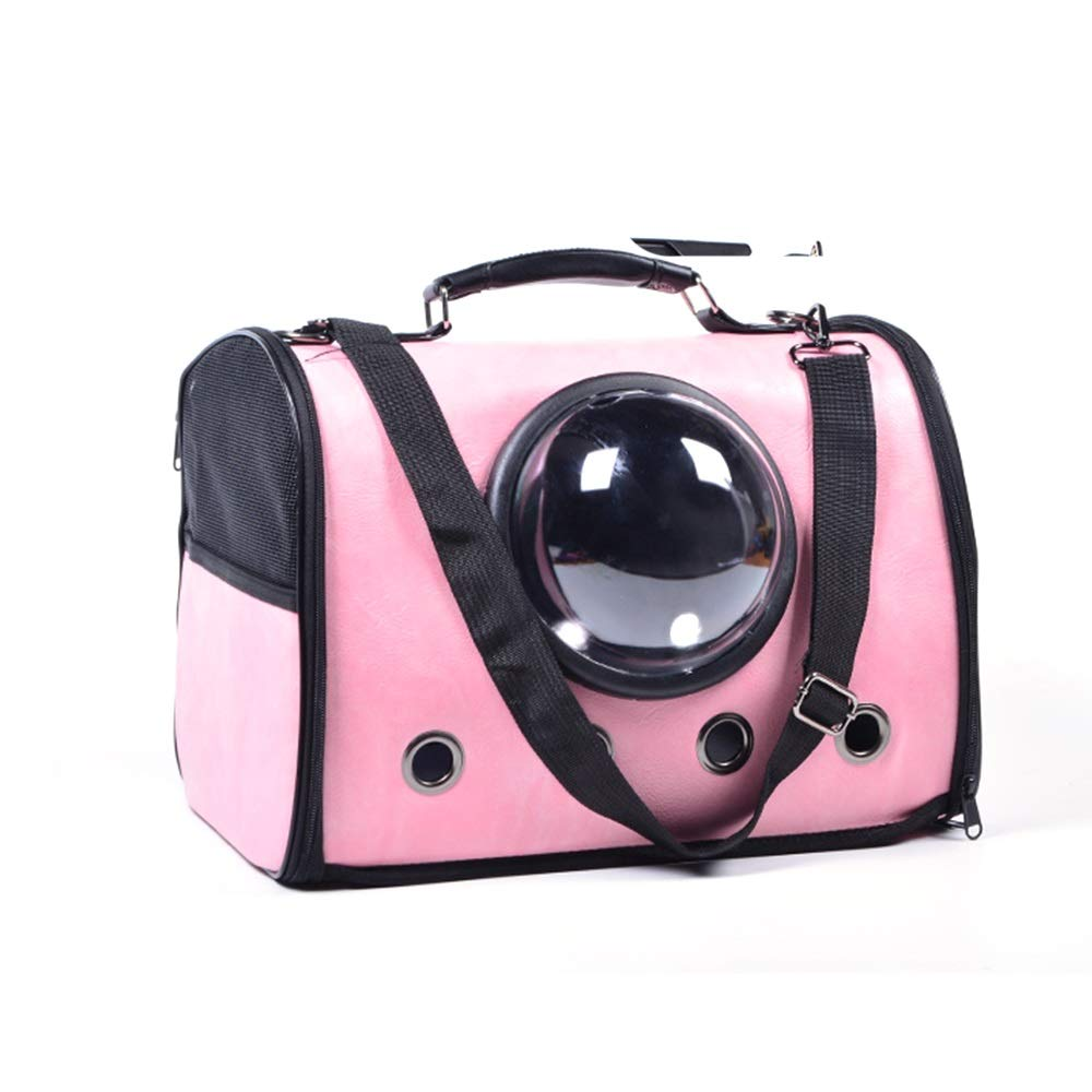 Pink XiuHUa Pet travel bag, breathable, cat bag dog bag, space cover, shoulder strap, portable pet travel fashion handbag Breathable pet travel bag (color   Pink)