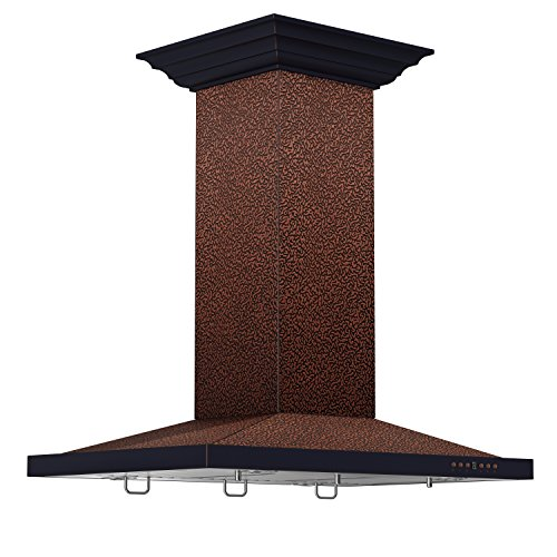 - ZLINE 30 in. 760 CFM Designer Series Embossed Copper Island Mount Range Hood (8NL2Ei-30)