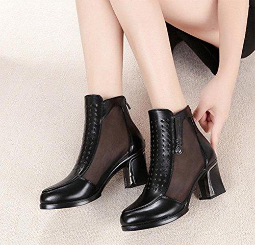 cargadores sencillo alto las los black las botas hueco botas primavera de de mujeres tacón otoño de Sra de gruesa zapatos mujeres refrescan y La malla con x6qTwYZ1c
