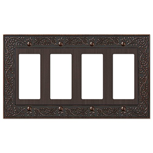 French Garden Quad Four GFCI Decora Rocker Wall Switch Plate Outlet Cover, Oil Rubbed Bronze - Four Light Ornate Cast