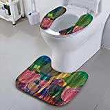 Auraisehome Toilet seat Cover Watercolor with Brushstrokes Tulips Flower Bulbs Soft Non-Slip Water