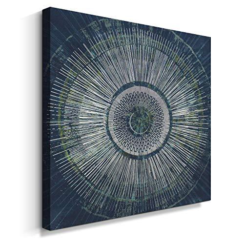 (Pigort Abstract Malachite Green Illusion Wall Art Canvas Print with Silver Metallic Foil, Contemporary Modern Wall Décor (32''x32'', Malachite Green))
