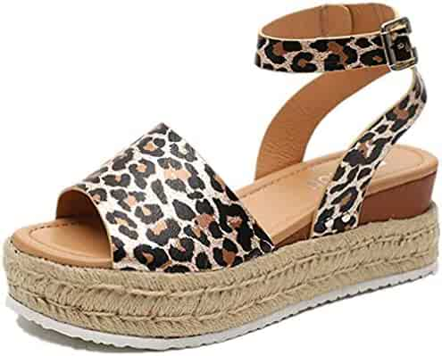d545ef6ea9 Comeon Women's Flatform Espadrilles Ankle Strap Buckle Open Toe Faux Leather  Studded Wedge Summer Sandals