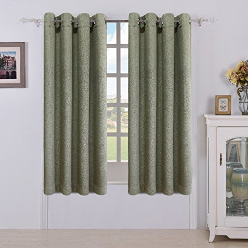 MEROUS Window 2 Panels Treatment Thermal Insulated Solid Grommet Blackout Curtains / Drapes for Bedroom (Set of 2 Panels,52 by 95 inch,Green) - Panels Drapes Set
