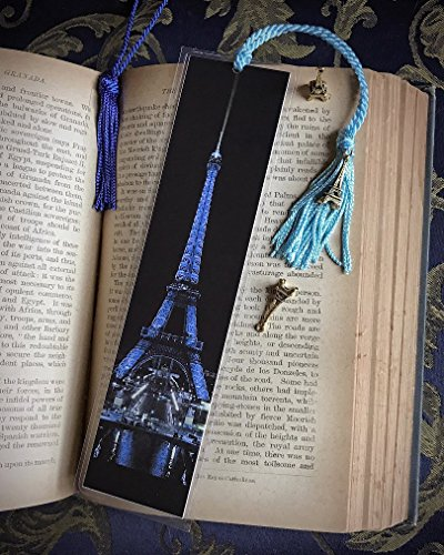The Eiffel Tower in Blue Paris France Europe at Night City Lights Bookmark w/Gold Tone Tower Charm Fine Art Photography Photo Laminated Handmade Bookmark Towers Photo Charm