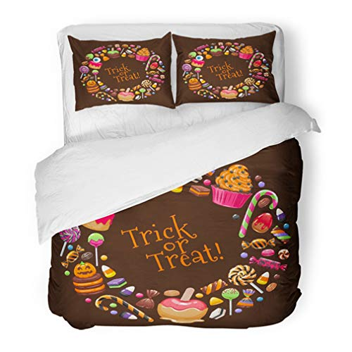 Emvency Bedding Duvet Cover Set King Size (1 Duvet Cover + 2 Pillowcase) Halloween Sweets Round Candies and Snacks Hard Candy Chocolate Egg and Bar Cane Hotel Quality Wrinkle and Stain Resistant ()