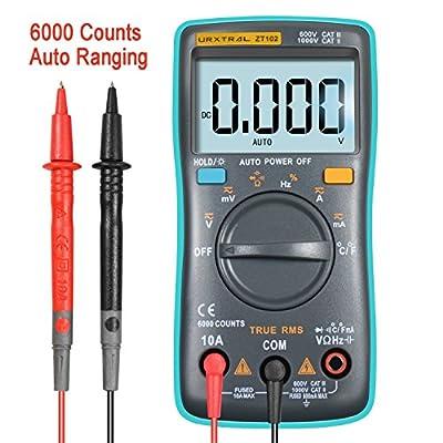 URXTRAL Digital Multimeter 6000 counts Palm-size True-RMS Multimeter Current Ohm Auto/Manual Backlight AC DC Voltage Ammeter