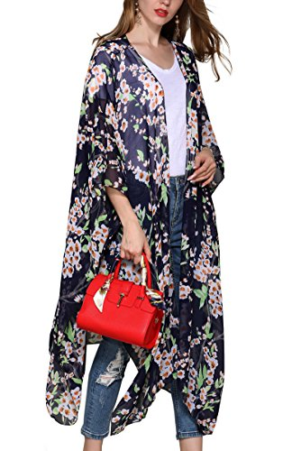 Hibluco Women's Casual Oversized Floral Kimono Cardigan Sheer Tops Loose Blouse