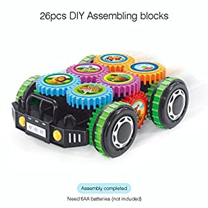Kanzd DIY Building Bricks Blocks Remote Control Car Building Kit Toys Children Educational Toys Gift (A)