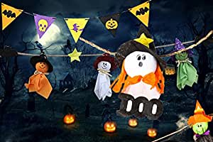 Halloween Garden Stake Party Banner Decoration Halloween Ghosts Strips (3 strips)Decorative Elements of Pumpkins, Ghosts and Spiders,for Home,Bars,Supermarket Decorations