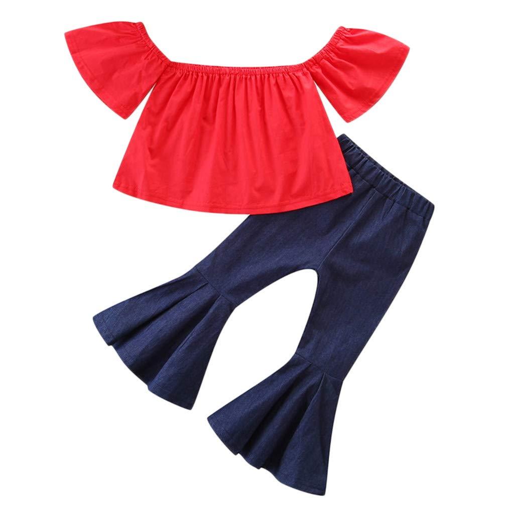 Xmiral Niñas Infantil Verano Camiseta sin Hombro Color ...