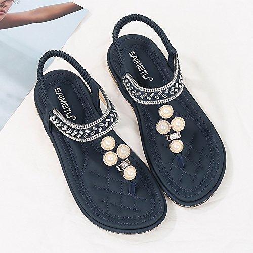 Blue Meeshine Flop Bohemian Summer Flip Sandals Shoes Flat Womens Rhinestone 06 qqazTw