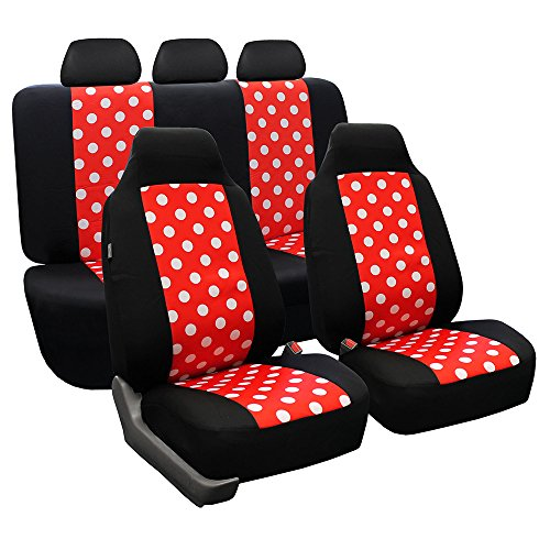 FH Group FB115REDBLACK114 Full Set Seat Cover (Stylish Polka Dot High Back Red & Black)